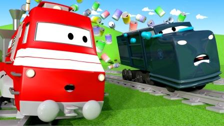 回收火车整理路上的罐子