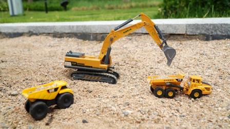 玩具车:挖掘机和翻斗卡车运沙子,儿童益智工程汽车玩具模型试玩