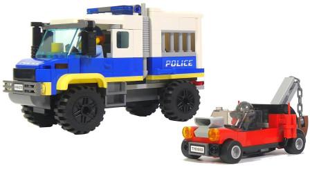 积木玩具拼搭乐高城警用运输车玩具