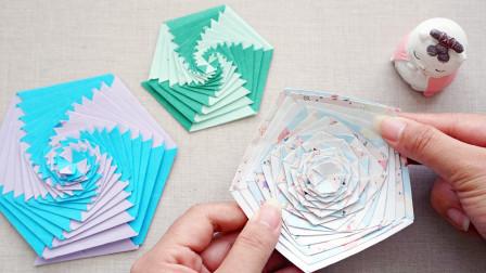用纸DIY简单的旋转小玩具,玩起来很解压,一起做起来!