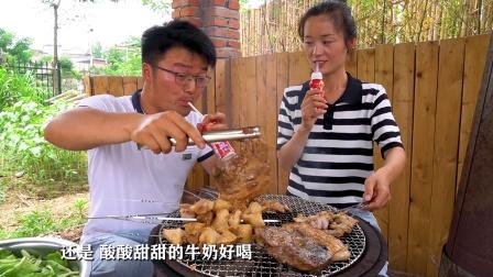 后院食材大丰收,这一顿烧烤肥得流油,全猪肉搭配柴火灶,真解馋