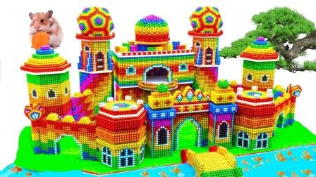 彩色巴克球玩具DIY拼出巨型城堡模型