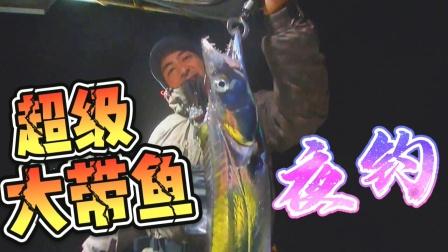 夜晚上来这条大带鱼,看着有点吓人