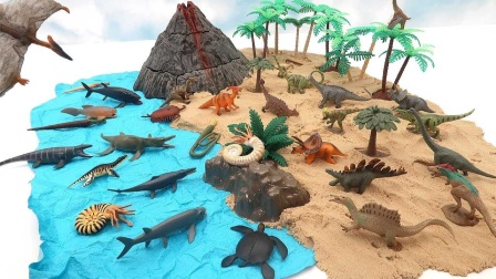 搭建小岛放置小恐龙和古生物