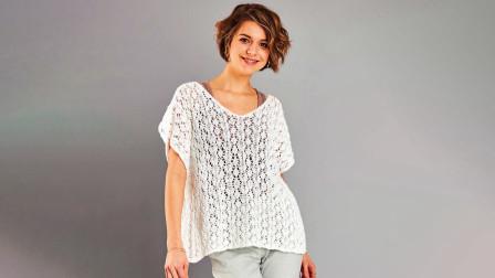 夏款针织衫就应该这样织,简洁的菱格图案,宽松的版型,休闲唯美