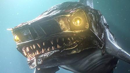 海底生物发生变异,变成了机械怪物,鲨鱼的眼睛比车灯都亮