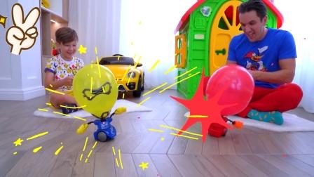 萌娃和爸爸气球大作战,谁会取得最终胜利呢