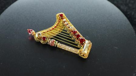 串珠 红色竖琴