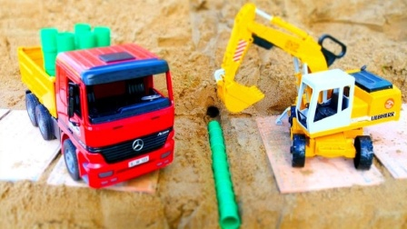 大卡车挖掘机玩具铺设管道