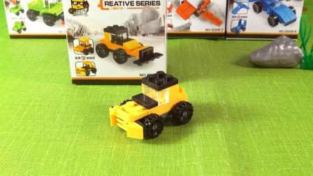 卡通3D拼装玩具,工程应力车