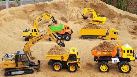 挖掘机儿童玩具,挖掘机挖沙子,大卡车工程车队施工表演。