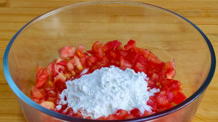 西红柿切丁,加一碗面粉,这种吃法还是第一次见,真是高手在民间