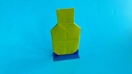 教你折纸带支架的瓶子,简单易学,生动形象