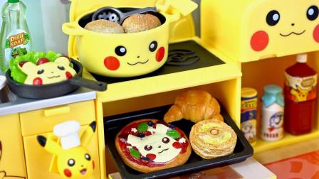 精灵宝可梦皮卡丘厨房玩具:各种厨房用具和美味的食物