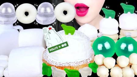 吃货:白色食物棉花糖、糕点等,软糯