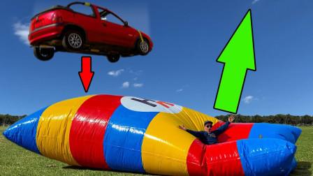 汽车从50米高空掉落蹦床,人会弹起多高?太离谱了!