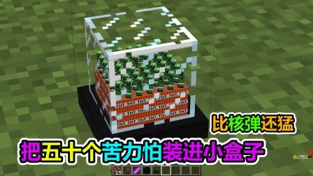 MC我的世界:把五十个苦力怕装进小盒子里面,威力比核弹还猛