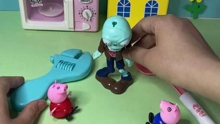 趣味玩具:佩奇一锤子把僵尸砸晕了