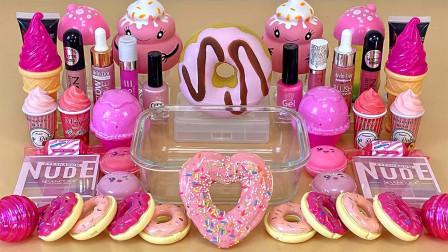 DIY甜品风混泥,无硼砂,妖娆芭比粉甜蜜小解压,爱了