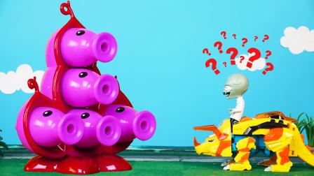 超级豌豆荚对抗僵尸博士,爆龙战车三角龙帮了大忙