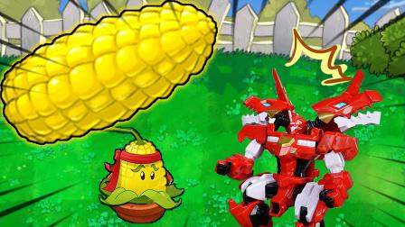 超级玉米射手,爆龙战车霸王龙看呆了
