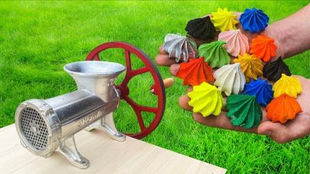 把彩色蛋糕扔进绞肉机,会变成什么样?画面太过瘾了