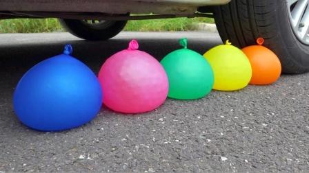 把果冻、气球等放在车轮下碾压,勿模仿