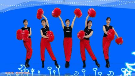 热门热搜红歌《红红红》广场舞,喜庆欢快附分解,轻松学起来
