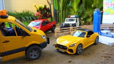 儿童玩具车表演:维修厂维修故障跑车、警车,吊车救援事故工程车!