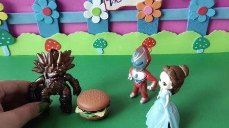 益智玩具:迪迦跟贝儿吃了小怪兽的汉堡