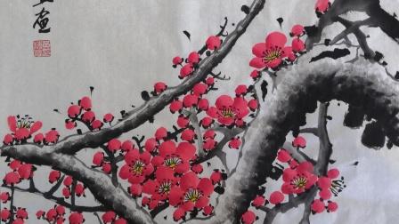 画一幅立体粗枝红色梅花