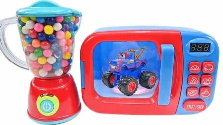 魔法微波炉魔力72变,捏捏葡萄球创意变赛车玩具激发宝宝创造力