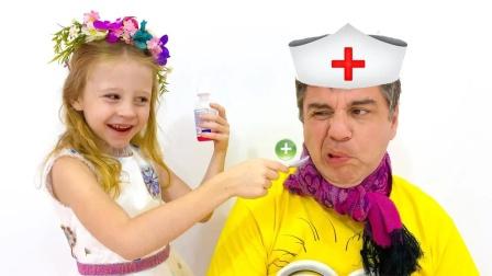 小萝莉变医生给爸爸看病,好能干呀