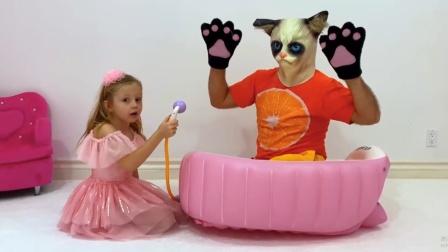 爸爸变成猫咪,看小萝莉用什么方法变回来