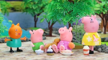 小猫坎迪带来了神奇面包魔法棒,小猪佩奇为猪爸爸变出神奇食物。