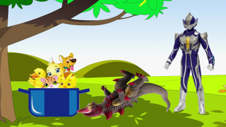 动画剧场:怪兽抓了所有小动物想炖了吃,结果被奥特曼狠狠一顿揍