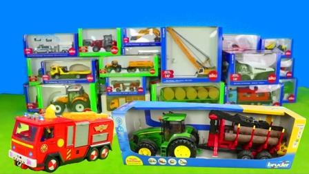 儿童早教玩具认知:翻斗车、警车、挖掘机、铲车、消防车、拖拉机!