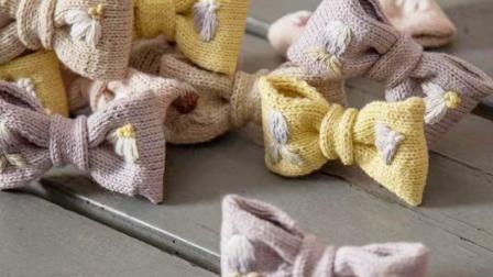 【全集】兔兔编织坊刺绣蝴蝶结埃及长绒棉发卡棒针DIY编织教程