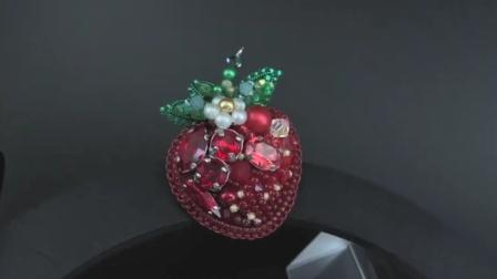 【布张扬手造】【资源分享】珠绣草莓胸针教程(外文)