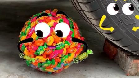 把糖果、气球等放在车轮下碾压,看着好解压