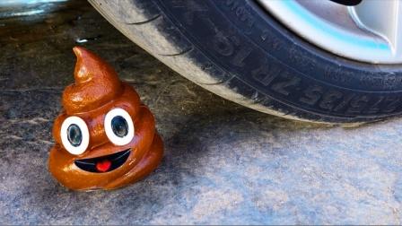 把玩具、罐头等放在车轮下碾压,勿模仿