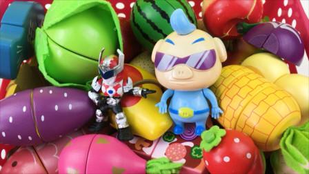 铠甲勇士和猪猪侠玩水果切切看