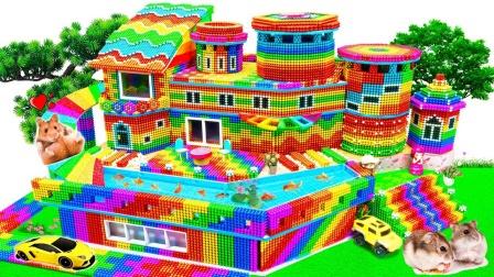 手工搭建巴克球庄园建筑玩具