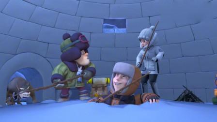 熊出没:雪屋被二狗破坏狼钻进来了,熊兄弟还在睡觉,这次危险了
