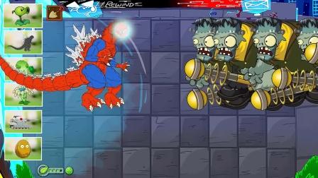 植物僵尸:蜘蛛侠和霸王龙合体PK僵尸