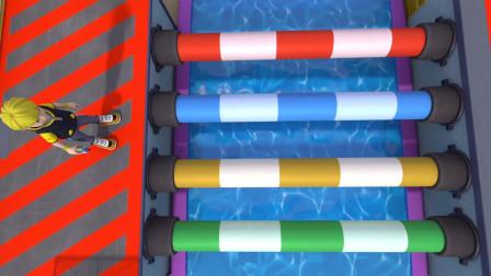 魔幻陀螺5:安德烈和小灵顺利通过了第二关独木桥