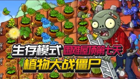 植物大战僵尸奇异版:生存模式困难屋顶第七天
