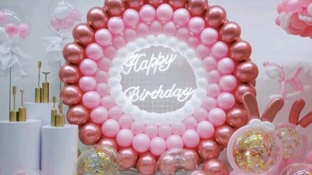 高级粉色系生日惊喜布置,粉色马卡龙甜甜圈+旋转木马谁能挡得住呀~