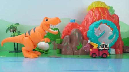 警车珀利侏罗纪保护恐龙蛋