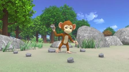 猴子不讲武德,朝陀螺扔石头!